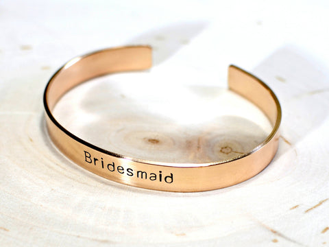 Golden Bronze Bridesmaid Cuff Bracelet ready to Customize for your Wedding, NiciArt