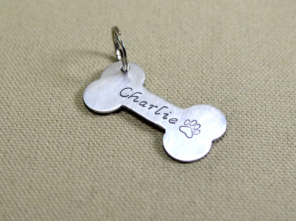 Aluminum personalized bone shaped dog tag, NiciArt