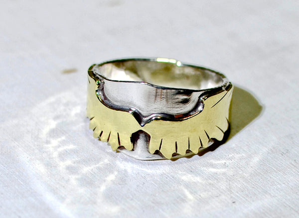 Brass wings on sterling silver custom handmade ring, NiciArt