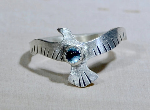 Bird Shaped Sterling Silver Ring with Swiss Blue Topaz, NiciArt