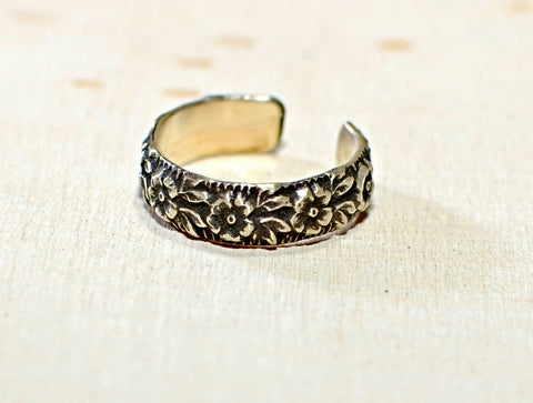 Sterling Silver Toe or adjustable Ring with Floral Pattern, NiciArt
