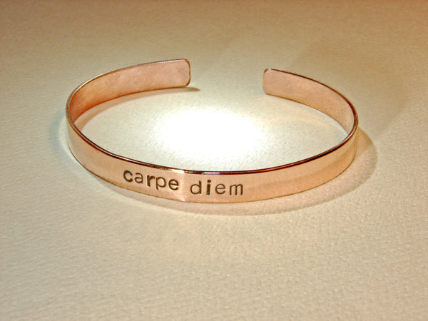 Copper bracelet handstamped with Carpe Diem, NiciArt