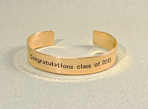 Personalized bronze graduation bracelet, NiciArt