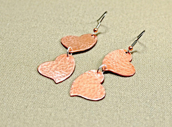 Double heart hammered copper dangle earrings