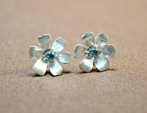Elegant flower earrings in sterling silver with blue topaz, NiciArt