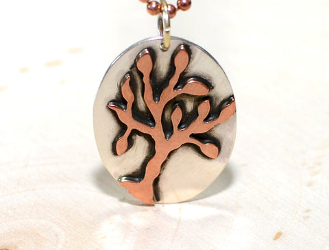 Sterling silver necklace with one of a kind handmade copper tree, NiciArt