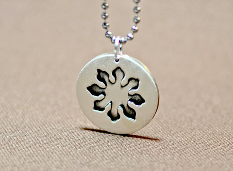 Eight point marine compass flower sterling silver pendant, NiciArt