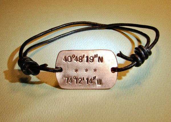 Leather wrap bracelet with latitude longitude personalized in copper