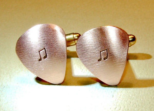 Copper guitar pick cuff links with music notes, NiciArt