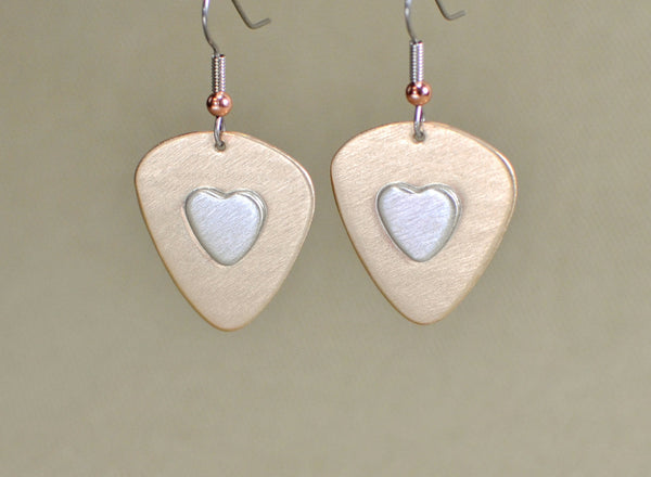 Bronze guitar pick earrings with sterling silver hearts, NiciArt