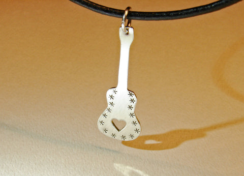 Sterling silver guitar necklace with heavy metal mirror finish, NiciArt