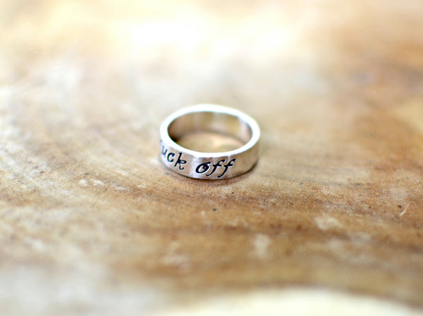 Elegant fuck off sterling silver ring