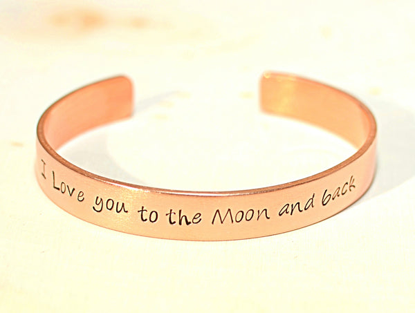Copper Bracelet Stamped with I Love You To the Moon and Back, NiciArt
