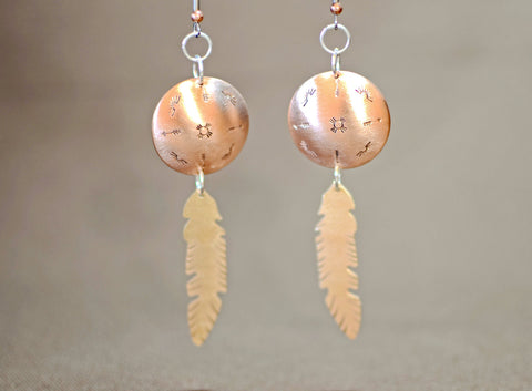 Copper dome shield and bronze feather earrings, NiciArt