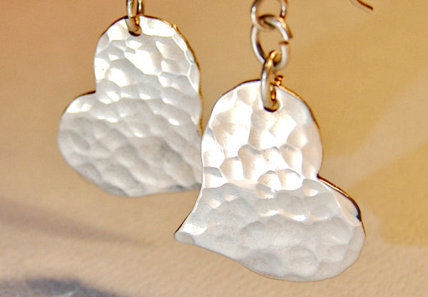 Hammered heart earrings handmade from sterling silver