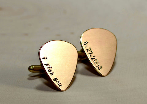 Personalized bronze guitar pick cuff links with latitude longitude coordinates, NiciArt