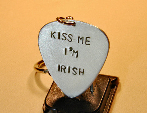 Kiss Me I am Irish Guitar Pick Keychain in Aluminum, NiciArt