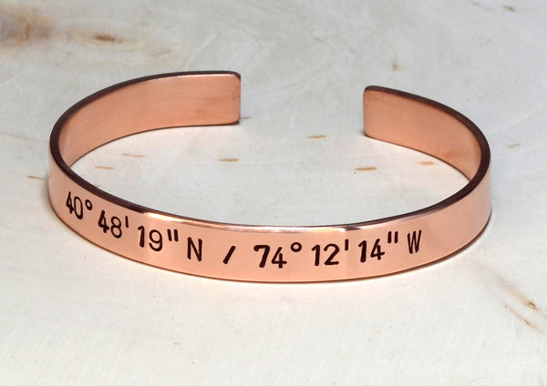 Latitude longitude bracelet with personalized coordinates in copper