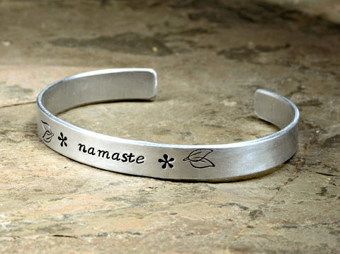Namaste Aluminum Cuff Bracelet for Celebrating the Divine Spark between Souls, NiciArt