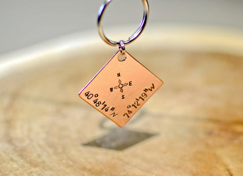 Latitude longitude copper square personalized keychain, NiciArt
