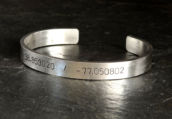 Latitude and longitude massive sterling silver cuff bracelet