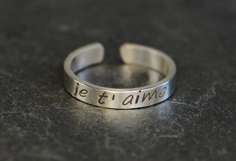Je t'amine Sterling Silver Toe Ring handcrafted in the Language of Love, NiciArt