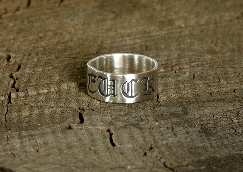 Fuck Off Sterling Silver Ring for going Medieval, NiciArt