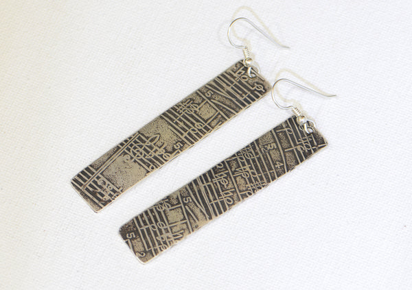Musical Sterling Silver Earrings with Melodic Inspiration on Antiqued Sheet Music Design