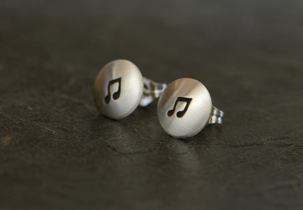 Sterling Silver Button Earrings with Music Notes