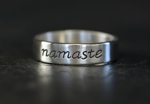 Sterling Silver Namaste Ring for Respect, Peace, and Yoga Power, NiciArt