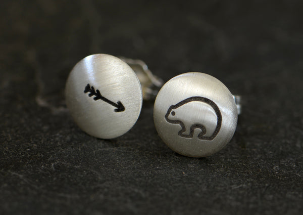 Spirit Bear and Arrow Button Earrings in Sterling Silver