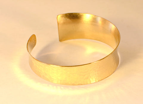 Hammered 14k solid gold anticlastic cuff bracelet with asymmetrical taper