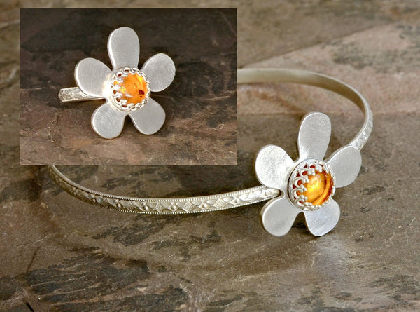 Sterling Silver Bangle and Ring Set with Amber Flower