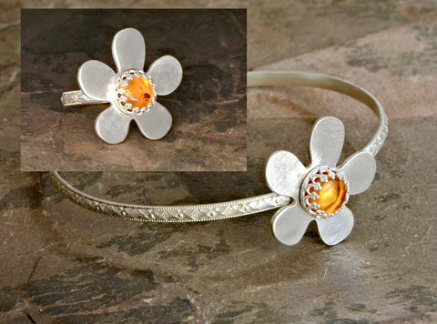 Sterling Silver Bangle and Ring Set with Amber Flower, NiciArt