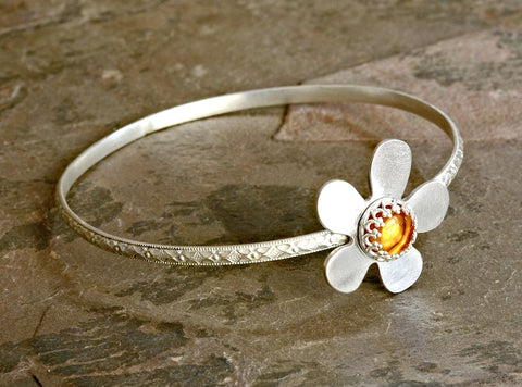 Amber Flower on Sterling Silver Artistic Handcrafted Bangle, NiciArt
