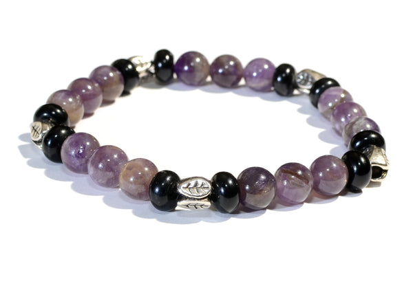 Amethyst and Onyx Beaded Gemstone Bracelet or Anklet