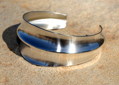 Modern Double Anticlastic Sterling Silver Cuff Bracelet with Tapered and Mirror Finish, NiciArt