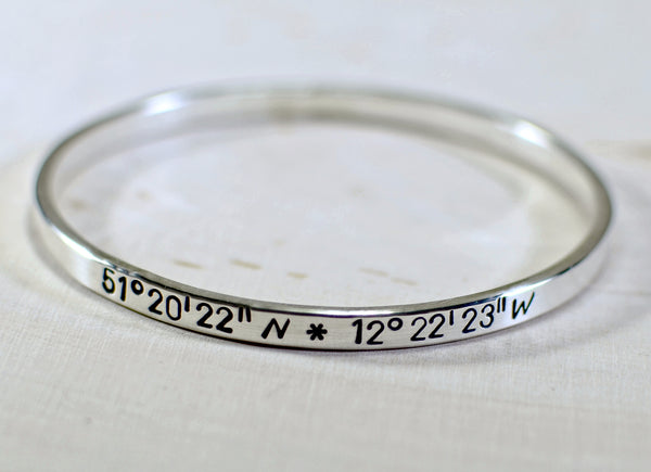 Sterling silver latitude longitude bangle