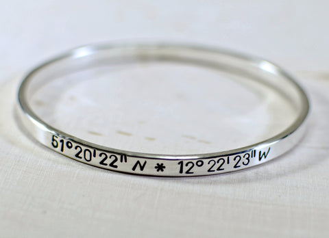 Sterling silver latitude longitude bangle, NiciArt