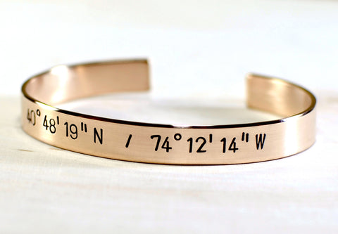 14K solid gold cuff bracelet with your own latitude longitude coordinates