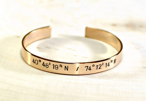 14K solid gold cuff bracelet with your own latitude longitude coordinates, NiciArt