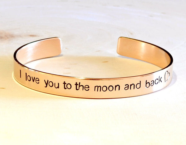 14k solid gold cuff bracelet handstamped with I love you to the moon and back, NiciArt