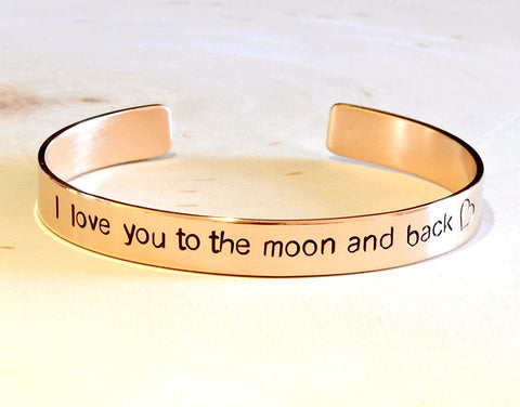 14k solid gold cuff bracelet handstamped with I love you to the moon and back