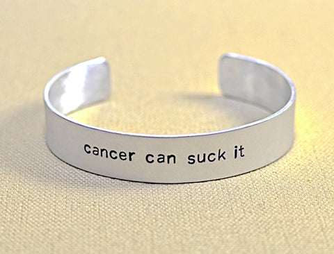 Aluminum cancer can suck it cuff bracelet, NiciArt