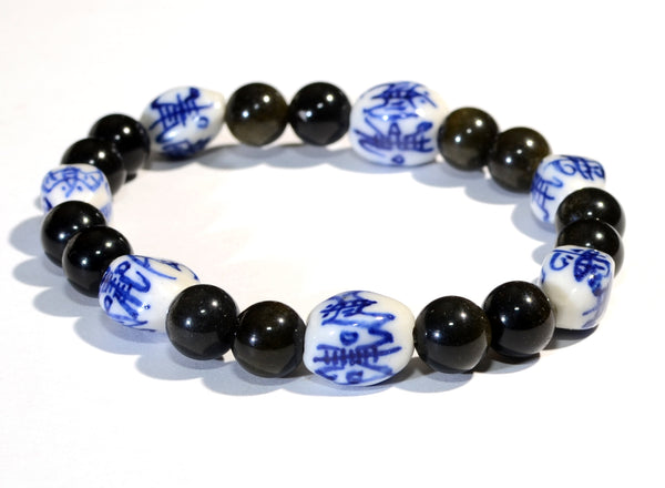 Tiger Eye and Asian Themed Ceramic Beads Beaded Bracelet