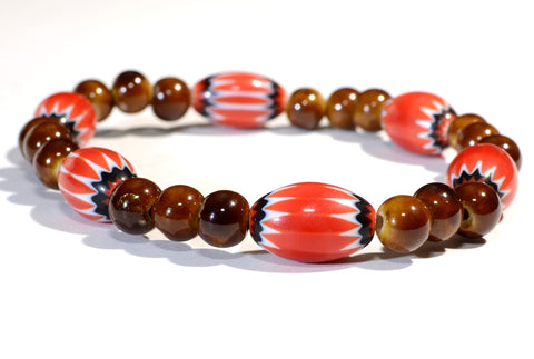 Red Chevron with Red Brown Ceramic Beads Bracelet for Exploring the Red Tones, NiciArt