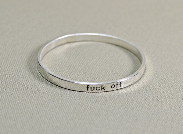 Fuck off sterling silver bangle, NiciArt