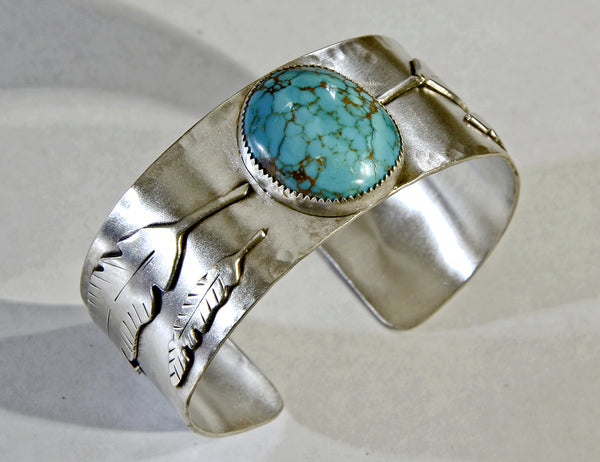 Large Turquoise with Leaf Motif on Wide Sterling Silver Bracelet OOAK 925
