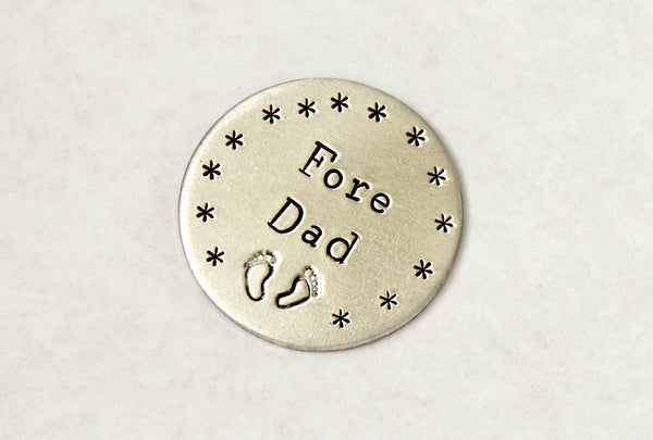 Fore Dad Aluminum Golf Marker with Baby Feet