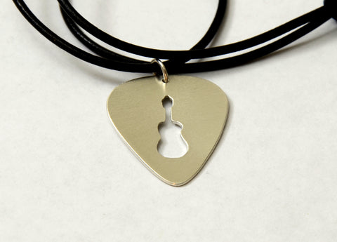 Guitar Pick Bronze Necklace with Handsawed Guitar Cut Out and Space to Personalize, NiciArt